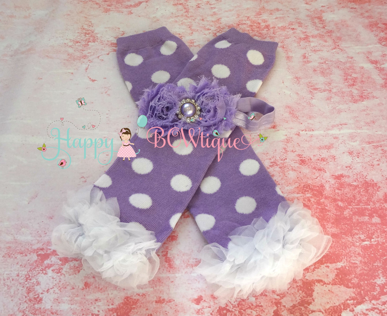 Lavender Dots Chiffon tutus Leg warmers - Happy BOWtique - children's clothing, Baby Girl clothing