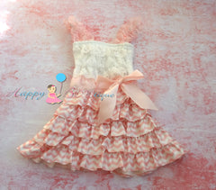 Pink Heart Chevron Lace Dress - Happy BOWtique - children's clothing, Baby Girl clothing