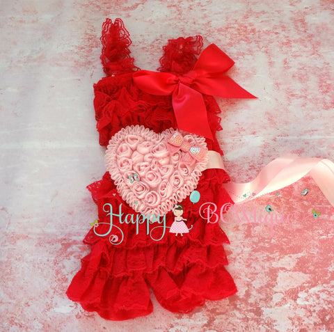 Red Hearts Romper Set - Happy BOWtique - children's clothing, Baby Girl clothing