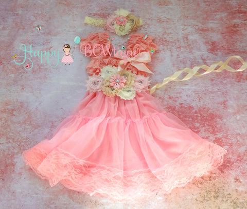 Princess Girl's Dress/ Girl's Champagne Pink Chiffon Lace Dress - Happy BOWtique - children's clothing, Baby Girl clothing