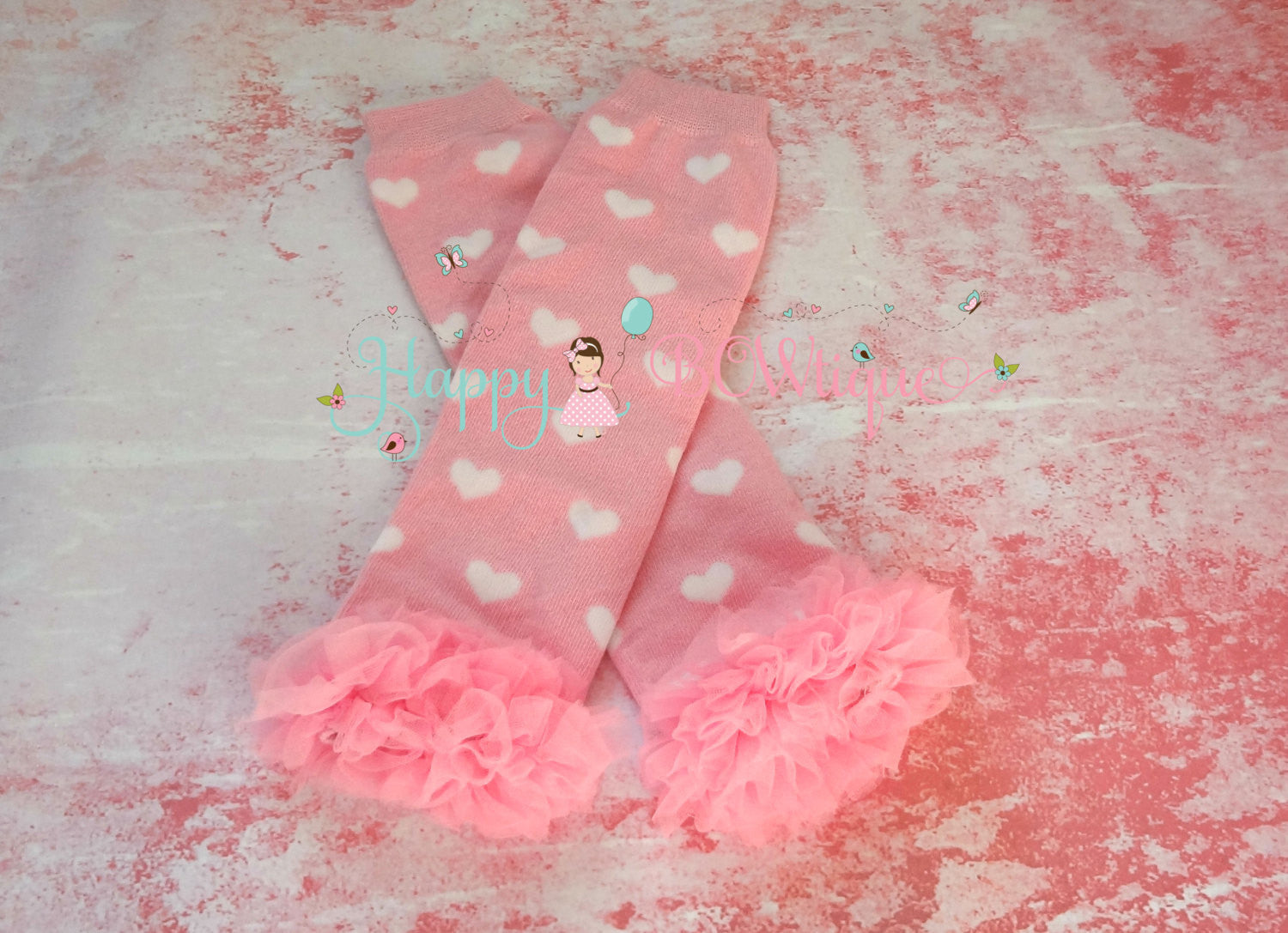 Light Pink Hearts Ruffle leg warmers set - Happy BOWtique - children's clothing, Baby Girl clothing