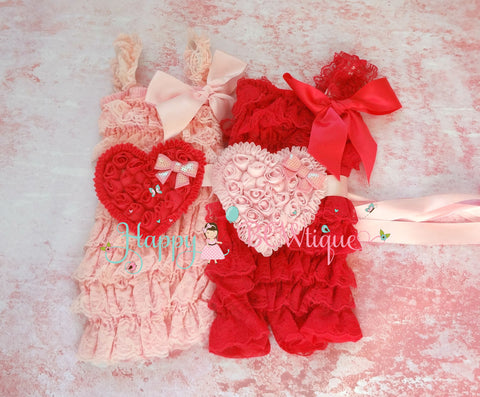 Pink hearts Petti Lace Romper set - Happy BOWtique - children's clothing, Baby Girl clothing