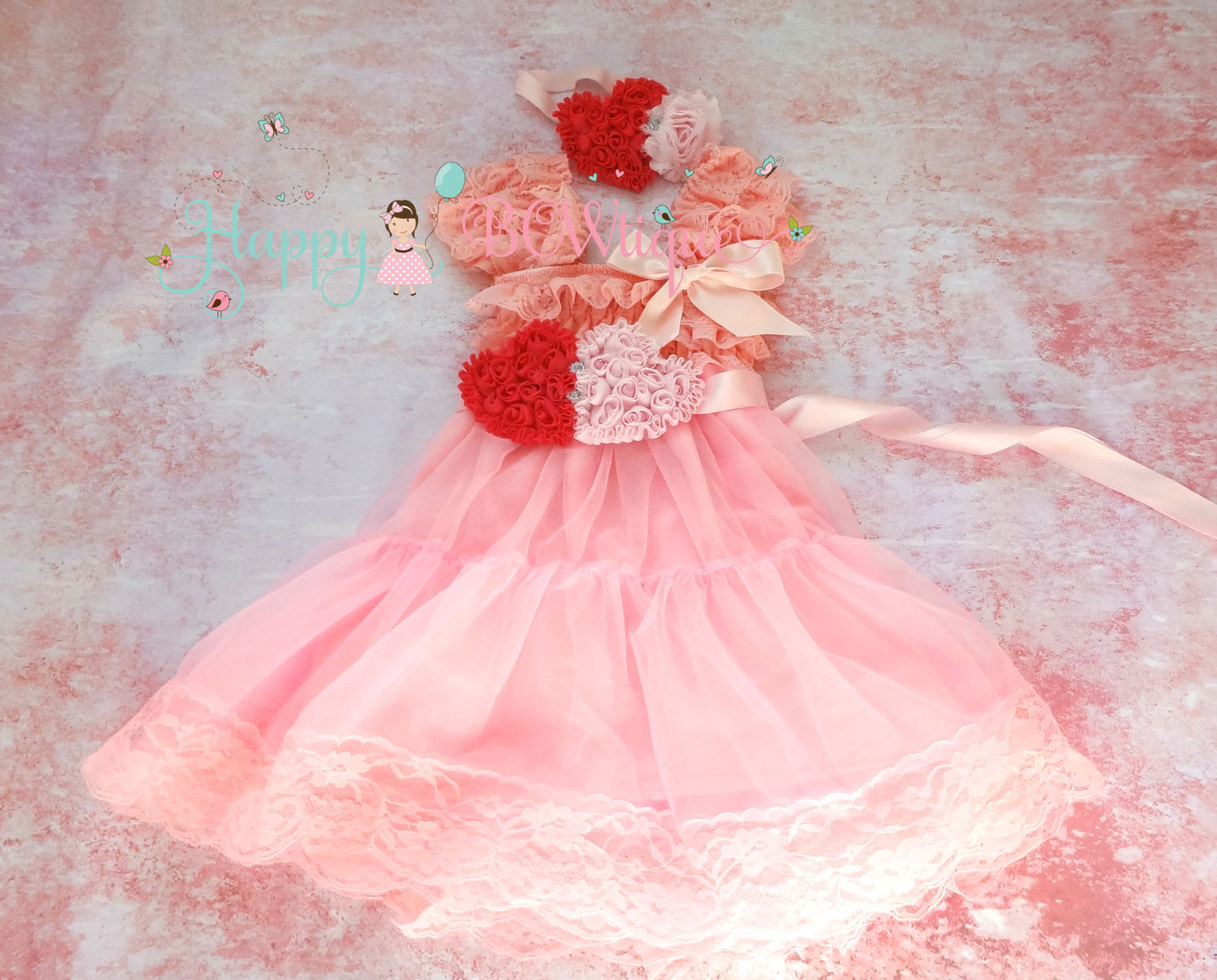 Sweetheart Pink Duo Hearts Chiffon Lace Dress - Happy BOWtique - children's clothing, Baby Girl clothing