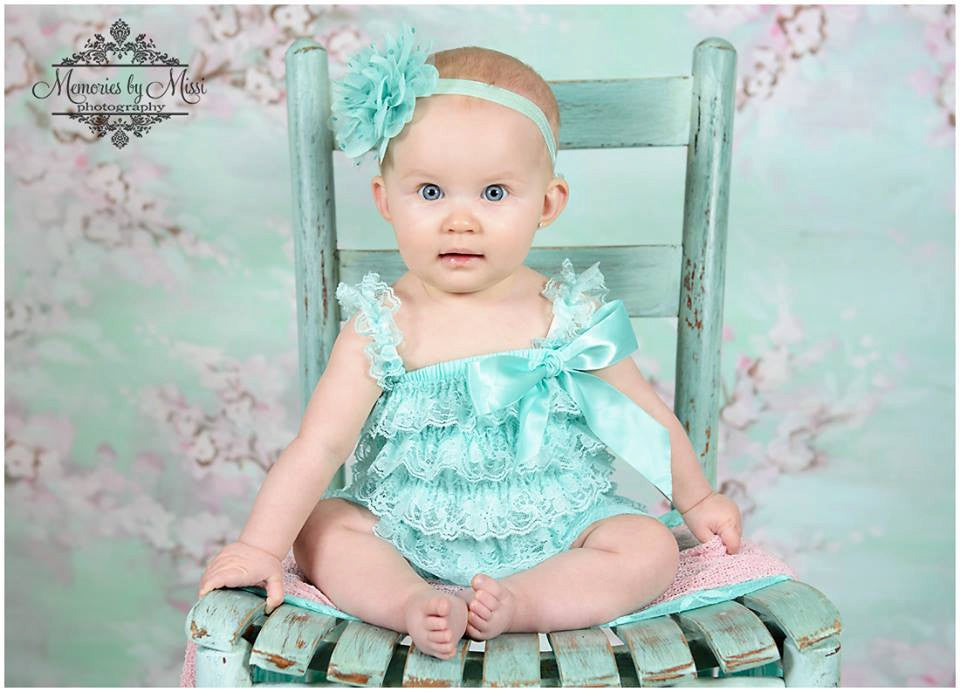 Large Light Aqua Dots Tutu Flower Headband - Happy BOWtique - children's clothing, Baby Girl clothing