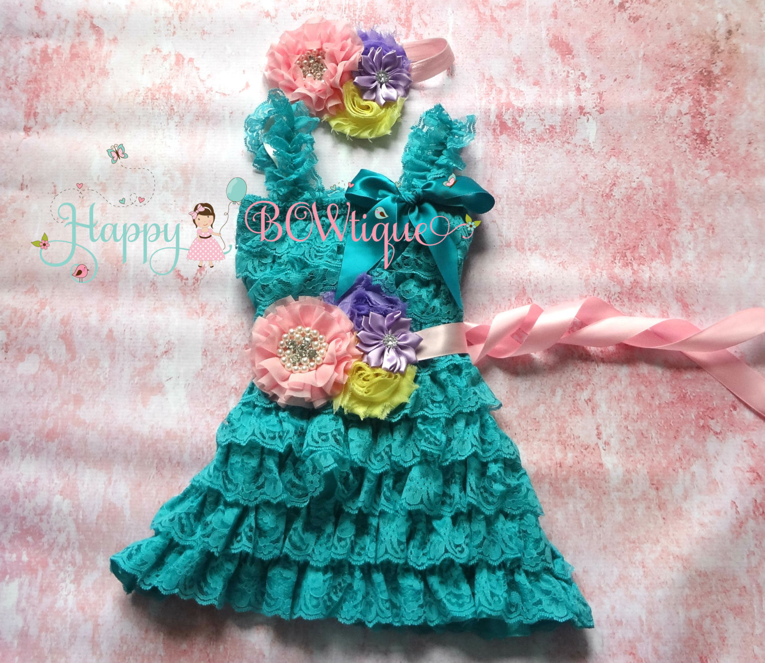 Girl's Blue Lace Dress/ Girl's Pretty Jade Petti Lace dress - Happy BOWtique - children's clothing, Baby Girl clothing