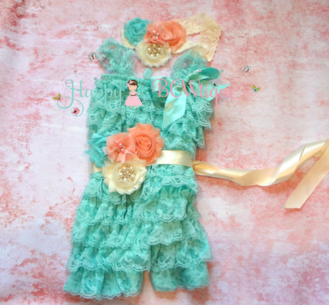 Aqua Ivory Blush Peach Lace Romper set - Happy BOWtique - children's clothing, Baby Girl clothing