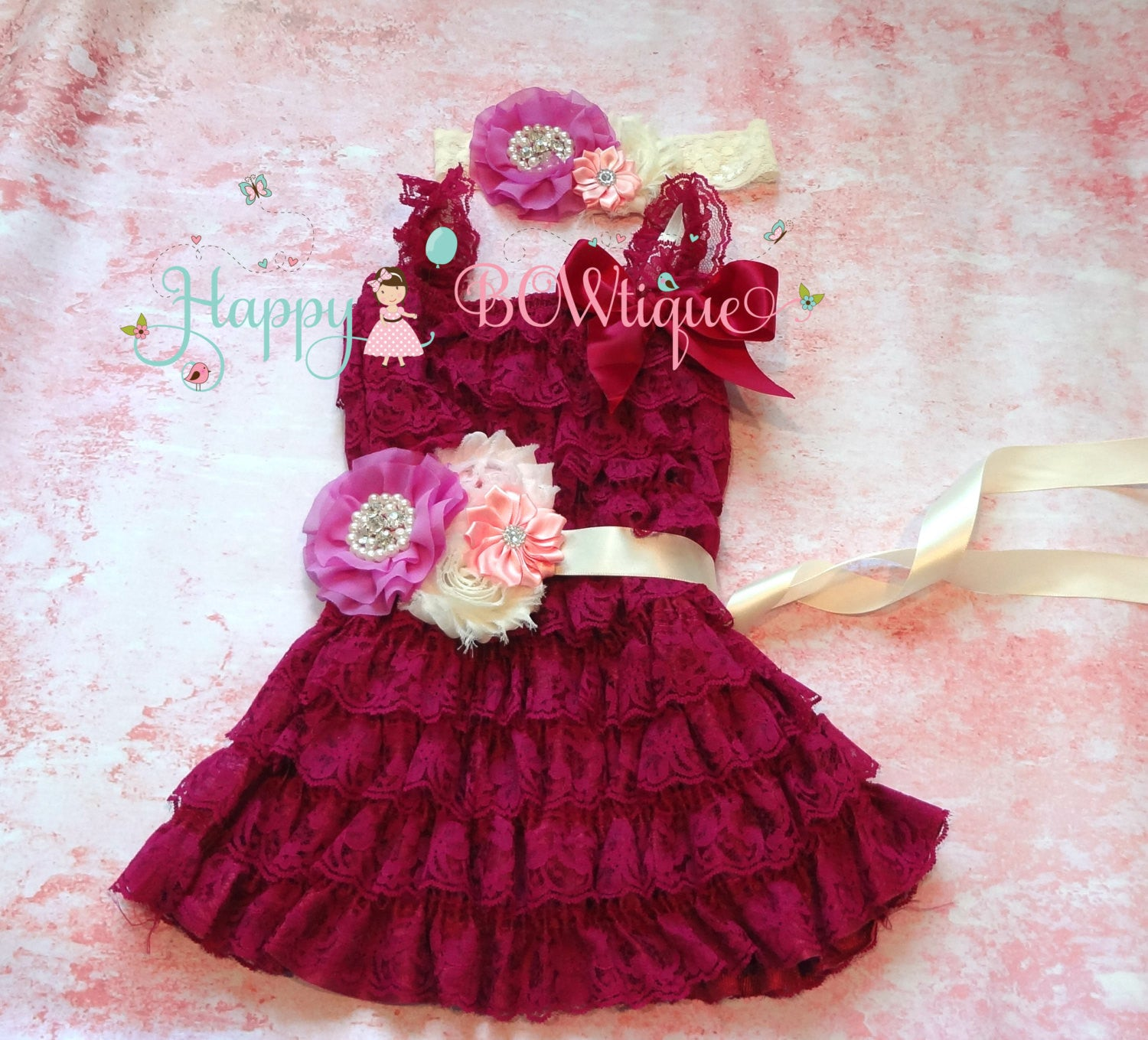 Raspberry Ivory Lilac dress set / Girl Raspberry Purple Dress - Happy BOWtique - children's clothing, Baby Girl clothing