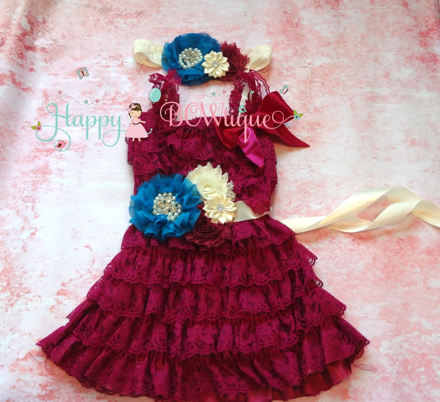 Raspberry Ivory Turquoise dress set / Girl Lace Dress Set - Happy BOWtique - children's clothing, Baby Girl clothing