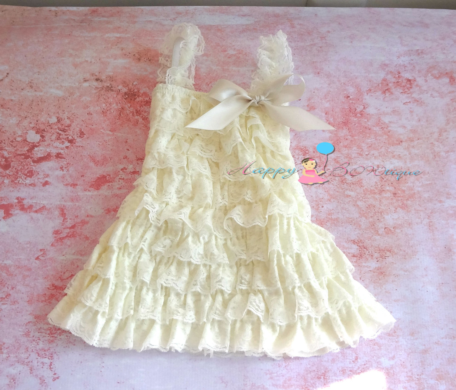 Girl's Ivory Lace Dress/ Ivory Turquoise Raspberry Girl's Dress Set - Happy BOWtique - children's clothing, Baby Girl clothing
