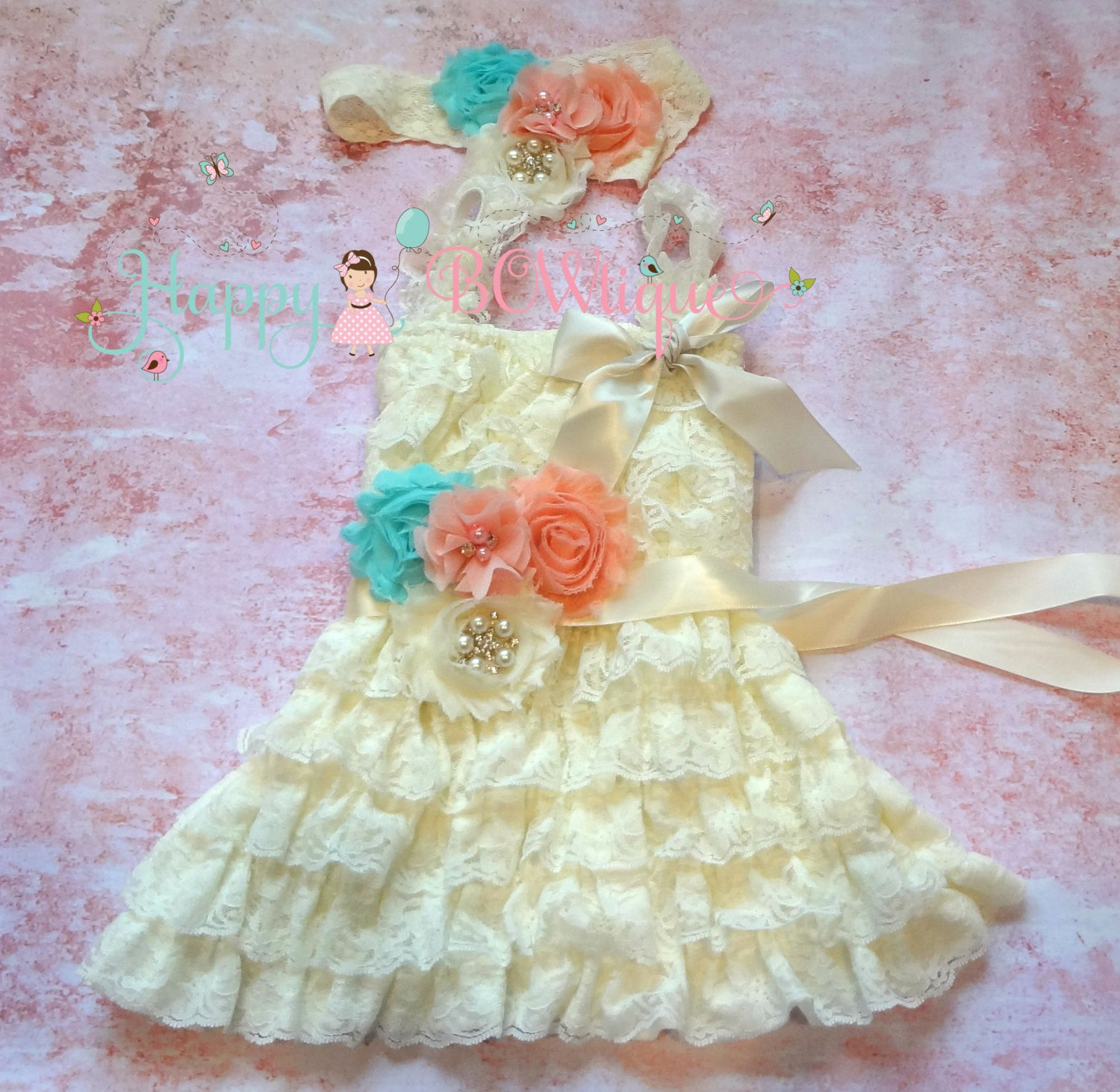 Girl's Ivory Dress/ Ivory Blush Peach Aqua Girl's Dress Set - Happy BOWtique - children's clothing, Baby Girl clothing
