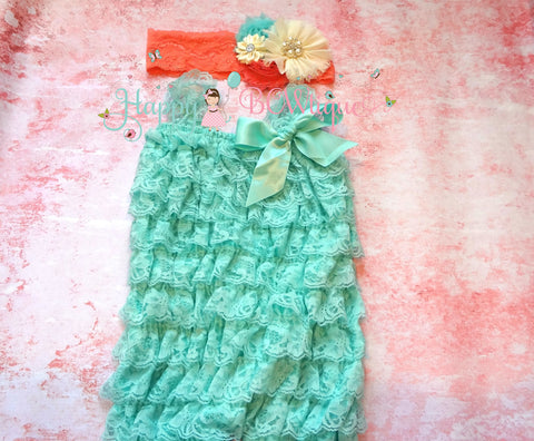 Coral Ivory Aqua Lace Romper set - Happy BOWtique - children's clothing, Baby Girl clothing