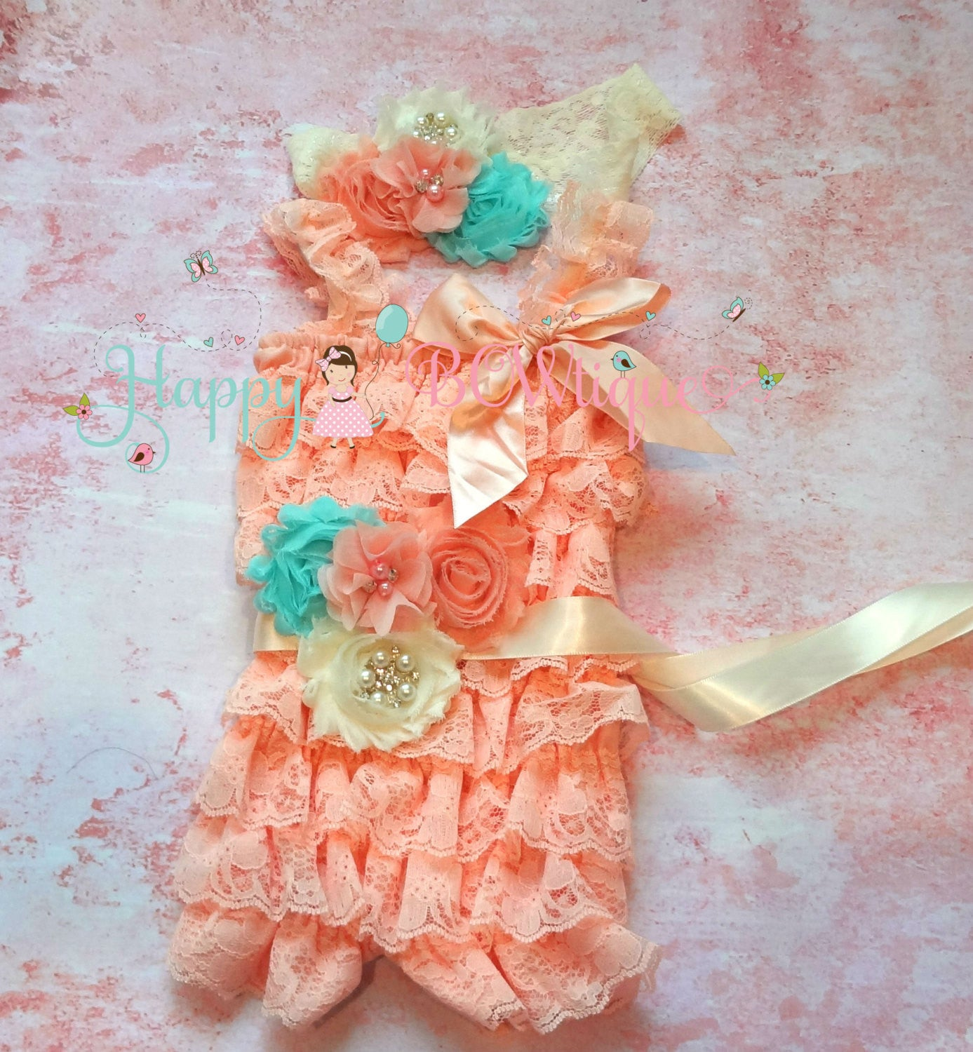 Ivory Blush Peach Aqua Lace Romper set - Happy BOWtique - children's clothing, Baby Girl clothing