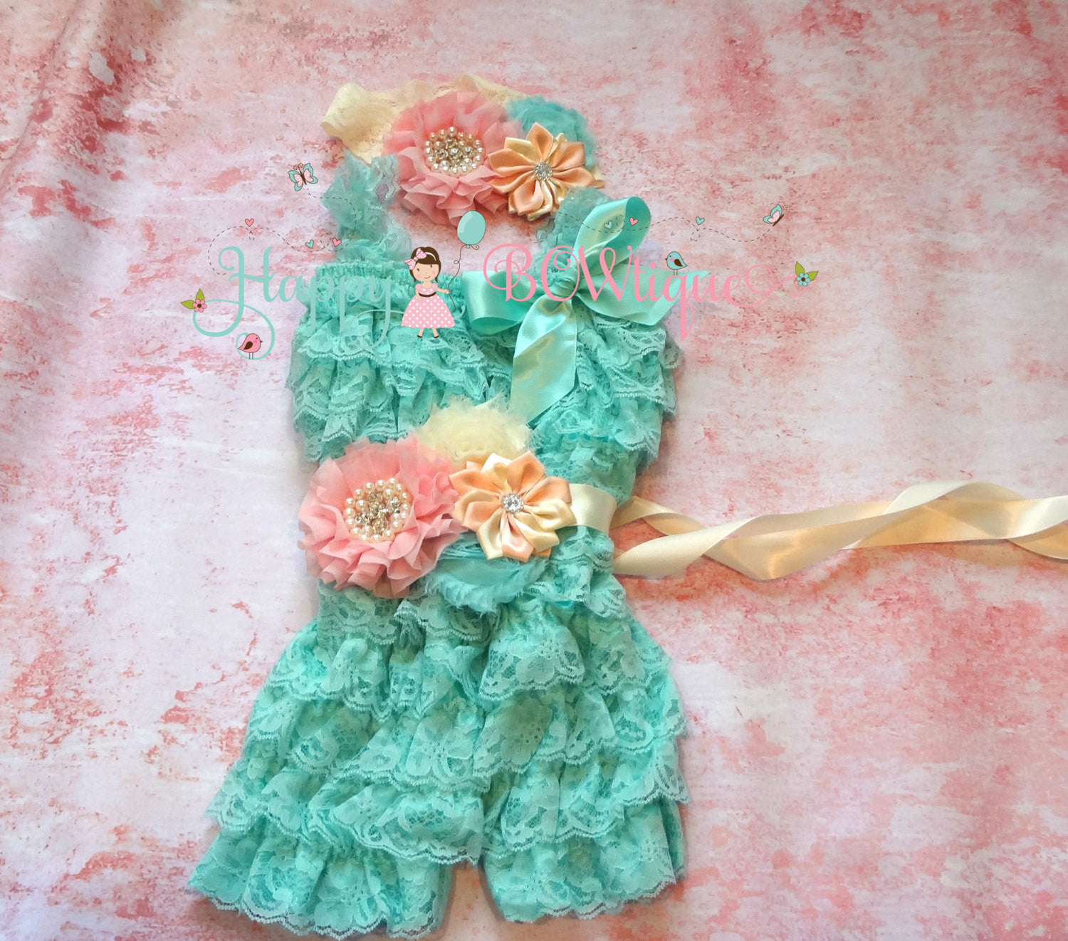 Aqua Ivory pink lace Romper set - Happy BOWtique - children's clothing, Baby Girl clothing