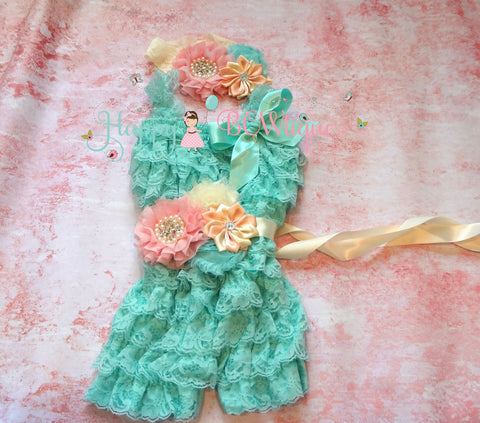 Girl Ivory Pink Grey Romper set/ Girl Petti Lace Romper Set