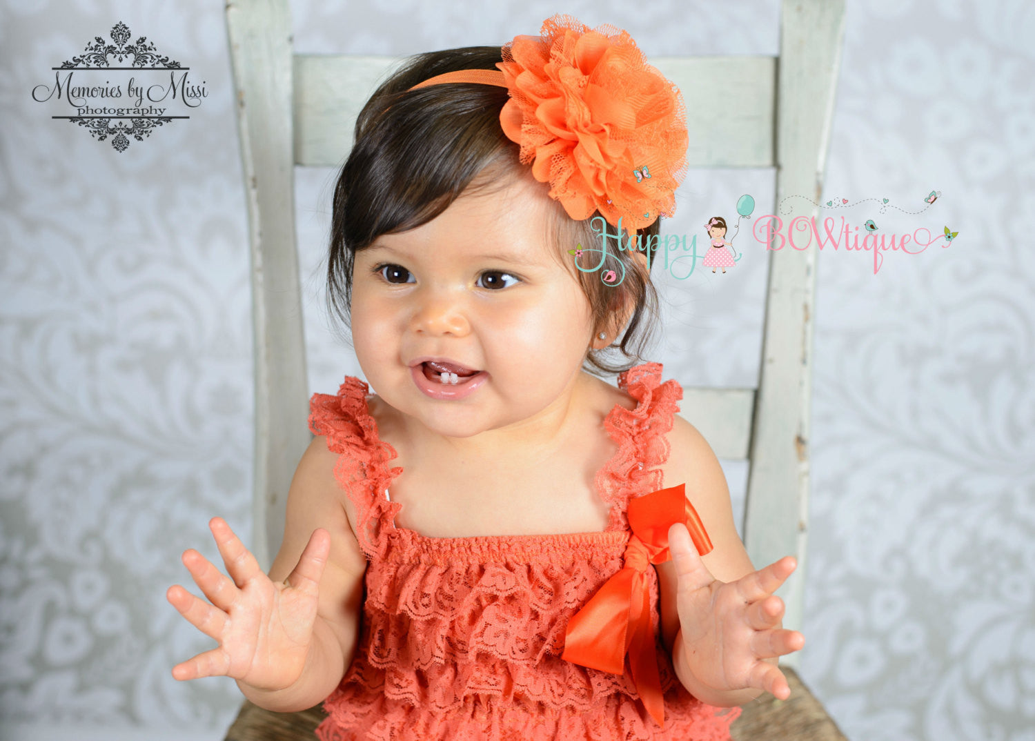 Fall Orange Lace romper - Happy BOWtique - children's clothing, Baby Girl clothing