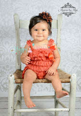 Large Orange Black Chiffon Lace Puff Headband - Happy BOWtique - children's clothing, Baby Girl clothing