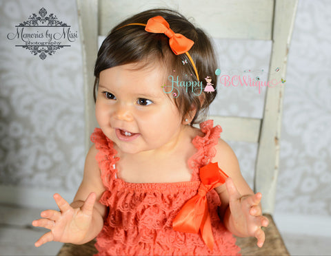 Orange Bow Headband - Happy BOWtique - children's clothing, Baby Girl clothing