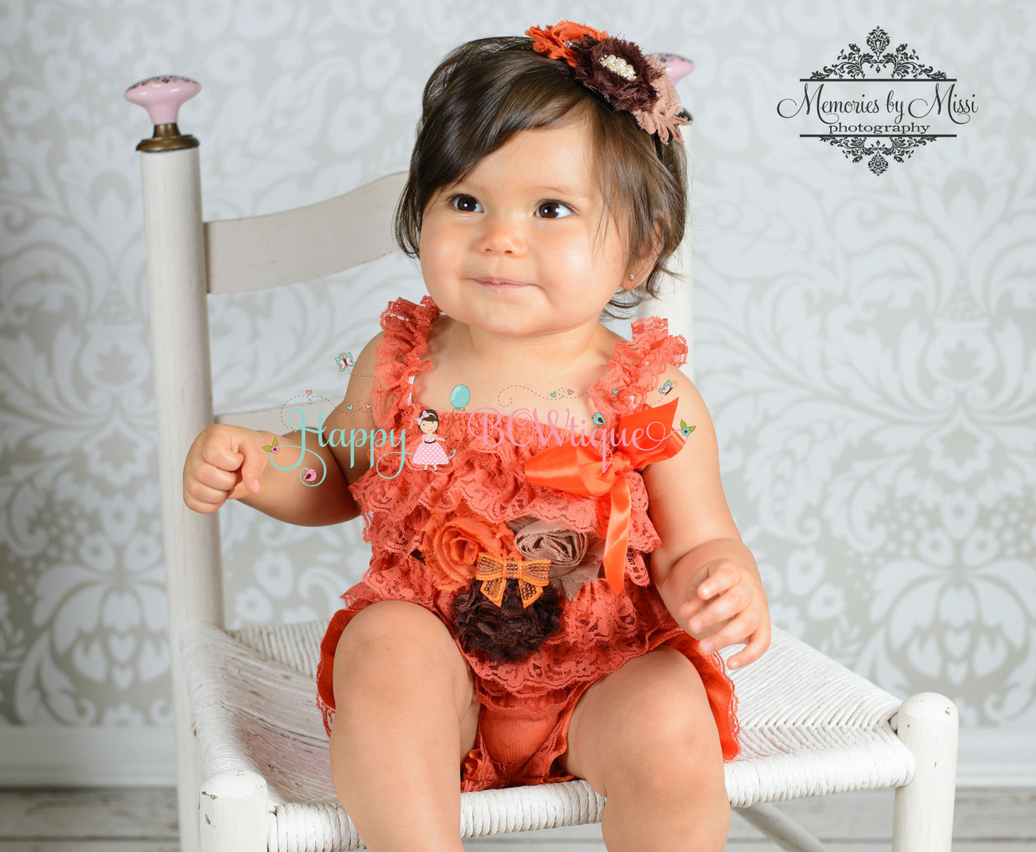 Fall Orange Romper set - Happy BOWtique - children's clothing, Baby Girl clothing