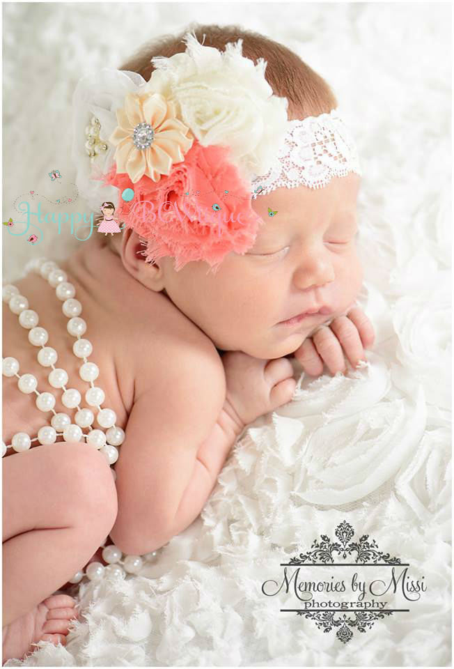 Coral White Lace headband - Happy BOWtique - children's clothing, Baby Girl clothing