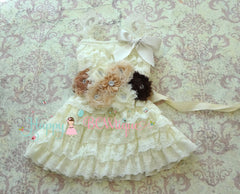 Burlap Flower Girl's Dress/ Girl's Ivory Embellished lace dress - Happy BOWtique - children's clothing, Baby Girl clothing