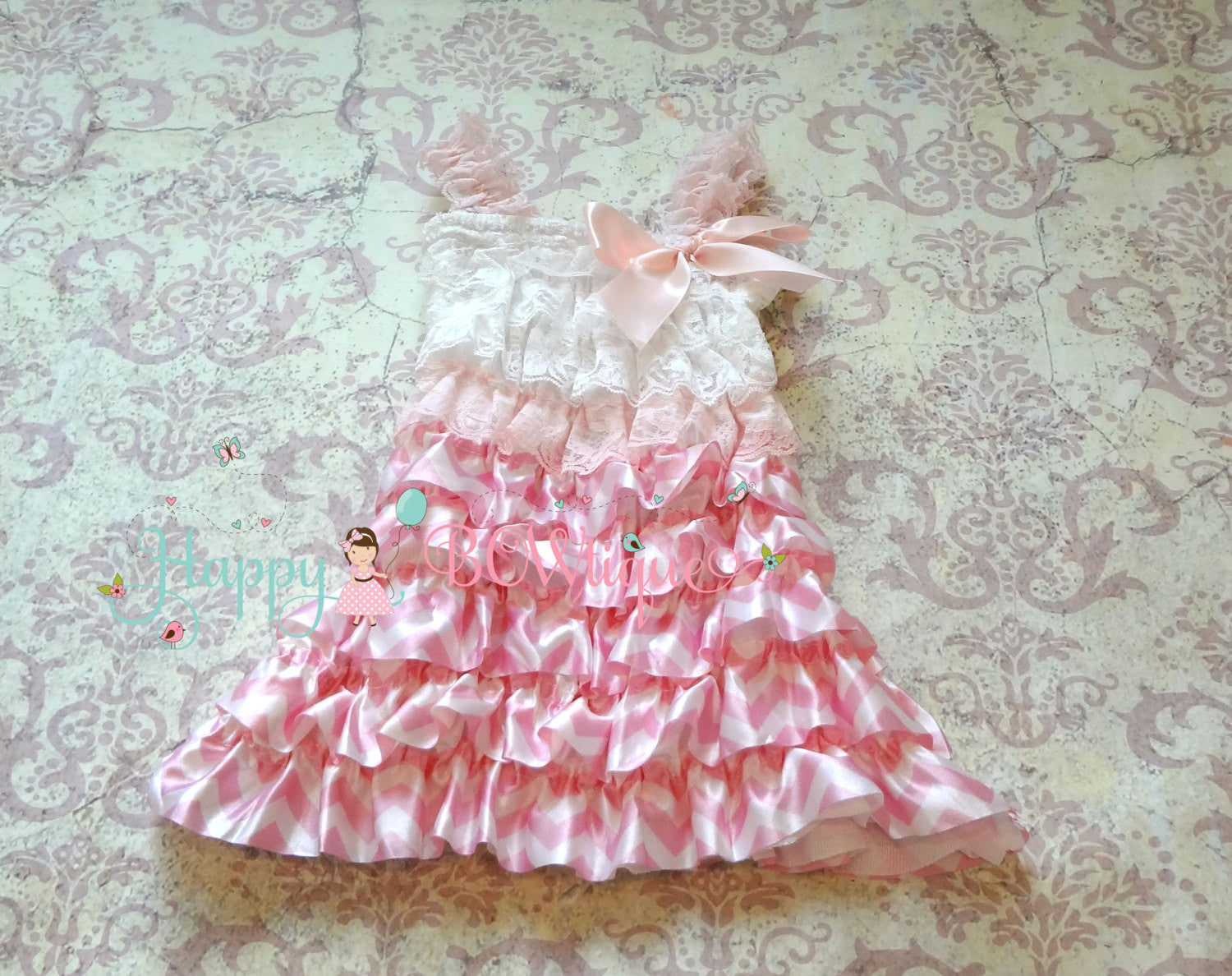 Valentine's Sweet Pink Chevron Dress - Happy BOWtique - children's clothing, Baby Girl clothing