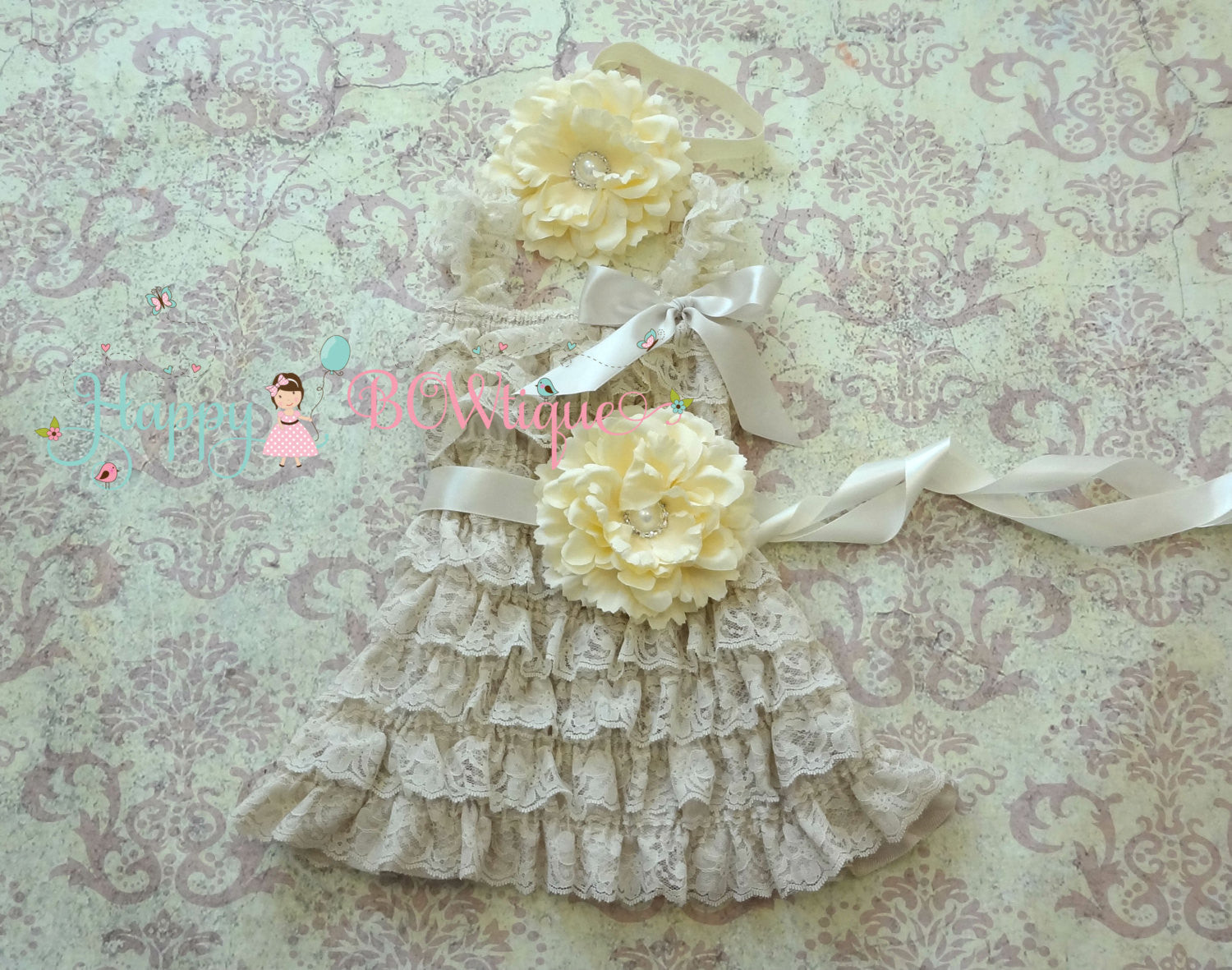 Country Flower Girl's dress/ Girl's Ivory Champage Flower Lace Dress set - Happy BOWtique - children's clothing, Baby Girl clothing