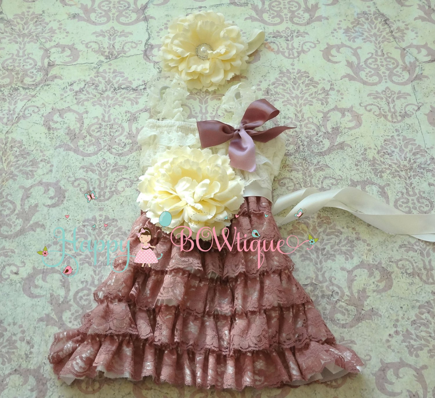 Girl's Dusty Rose Dress/ Girl's Dusty Ivory Rose Flower Lace Dress set - Happy BOWtique - children's clothing, Baby Girl clothing