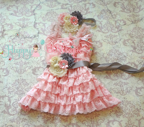 Girl's Petti Lace Dress/ Girl's Ivory PInk n Grey Dress set - Happy BOWtique - children's clothing, Baby Girl clothing