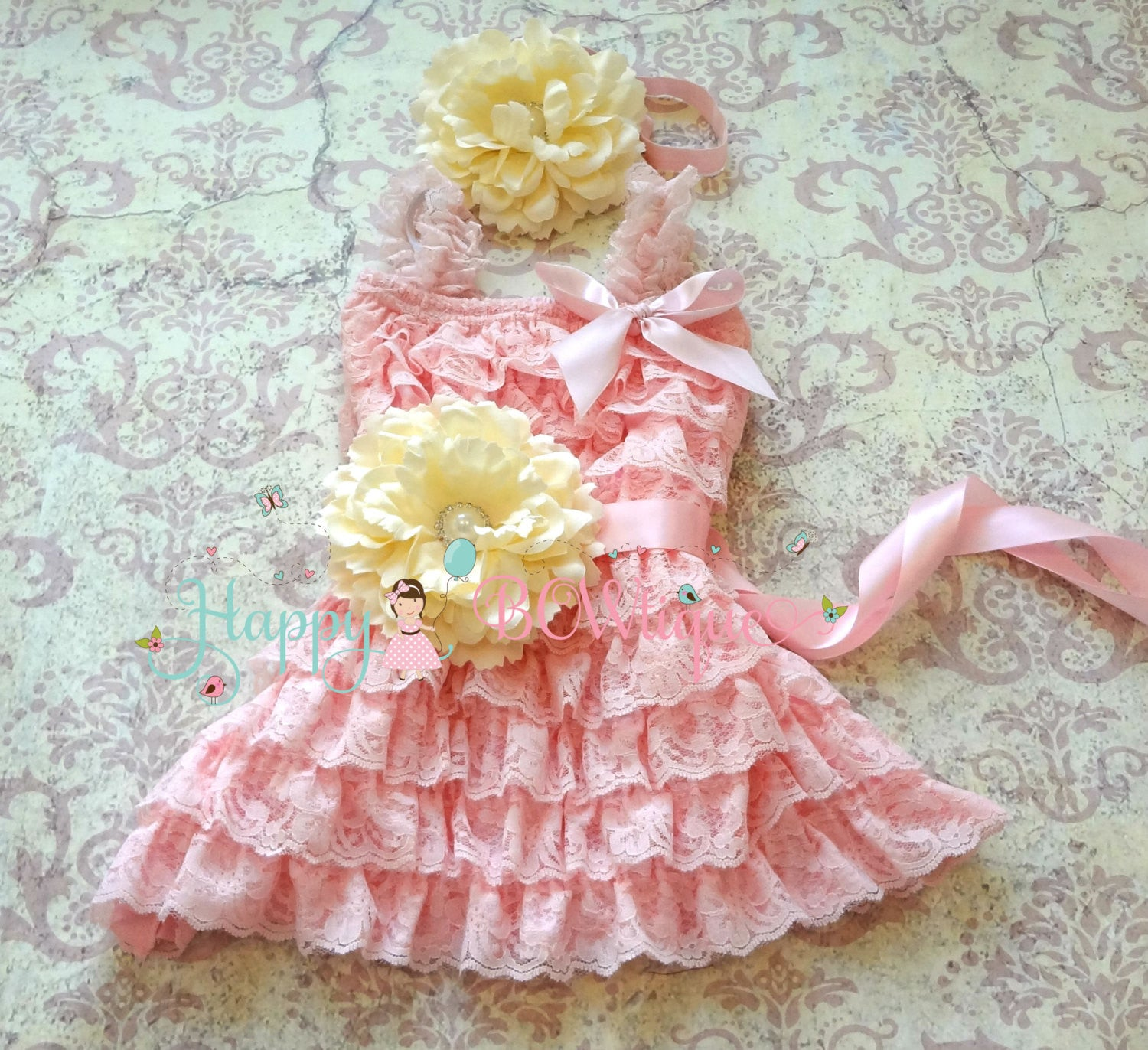 Girl Minty Pink Flower Dress set/ Blush Mint Girl's Lace Dress set - Happy BOWtique - children's clothing, Baby Girl clothing