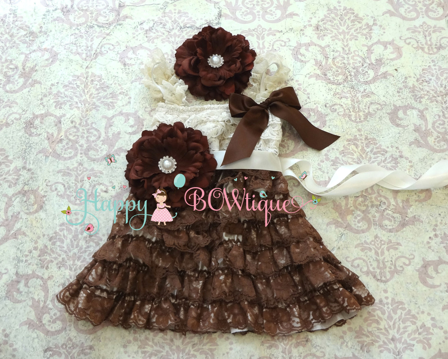 Country Flower girls dress/ Girl's Chocolate Beige Flower Dress set - Happy BOWtique - children's clothing, Baby Girl clothing