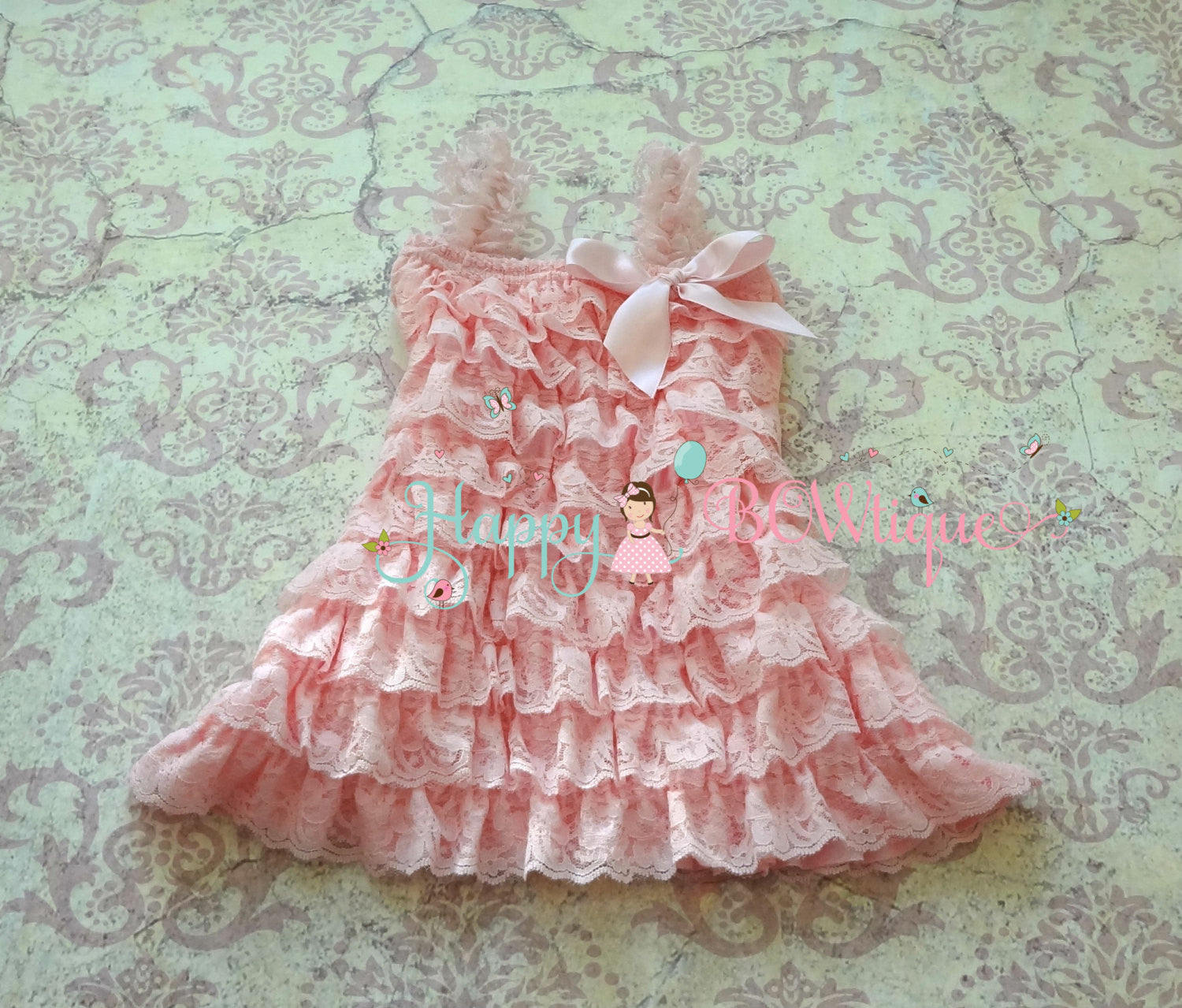 Baby Pink Lace Dress ~ Petti Lace Baby Girl Pink dress - Happy BOWtique - children's clothing, Baby Girl clothing