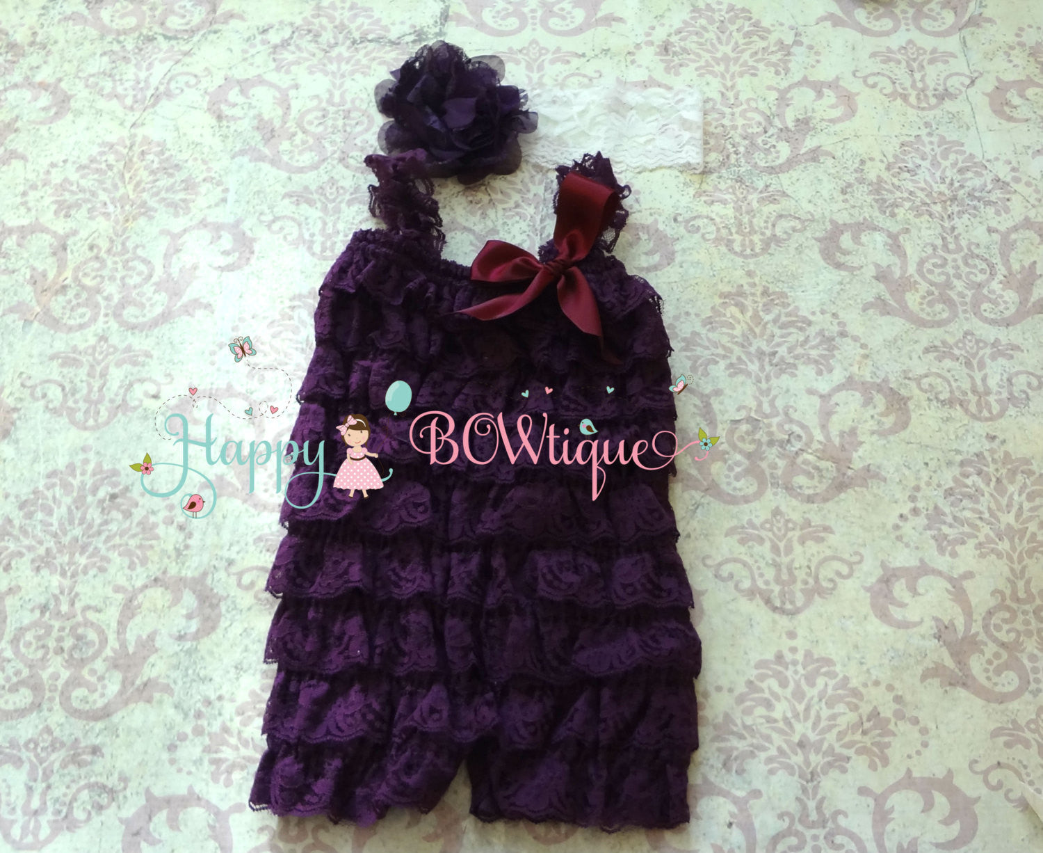 Eggplant Plum Lace Petti Romper - Happy BOWtique - children's clothing, Baby Girl clothing