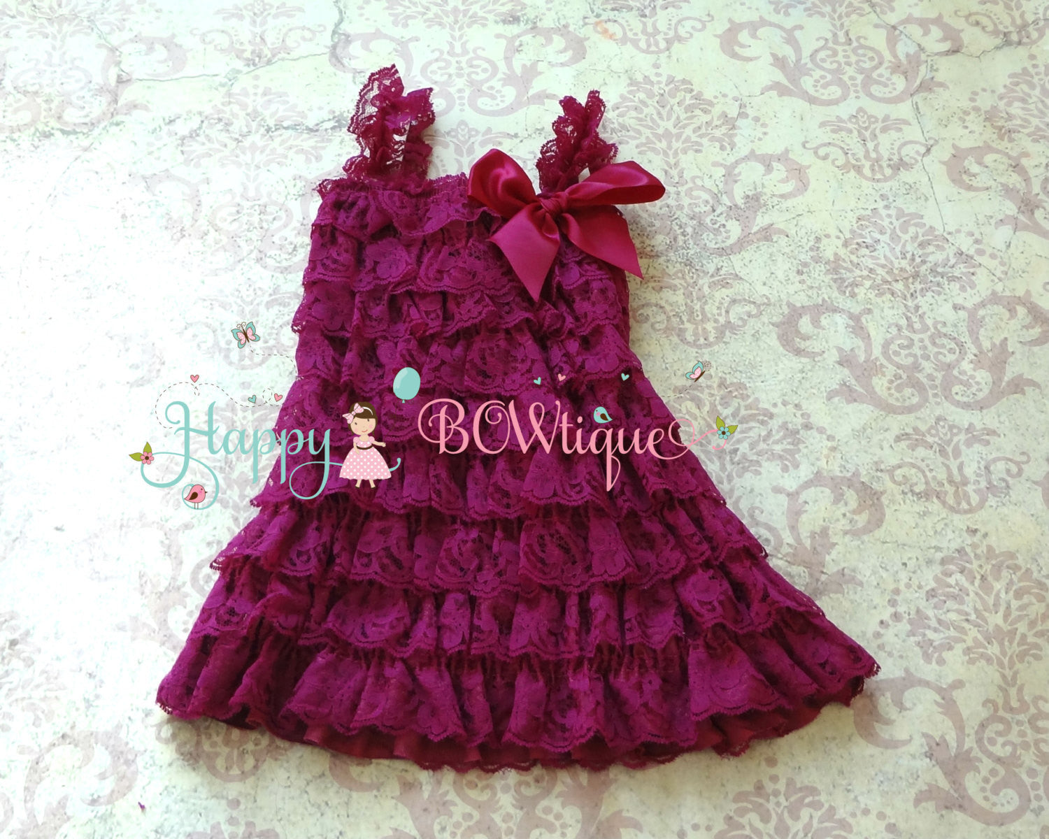 Raspberry Plum Lace dress - Happy BOWtique - children's clothing, Baby Girl clothing