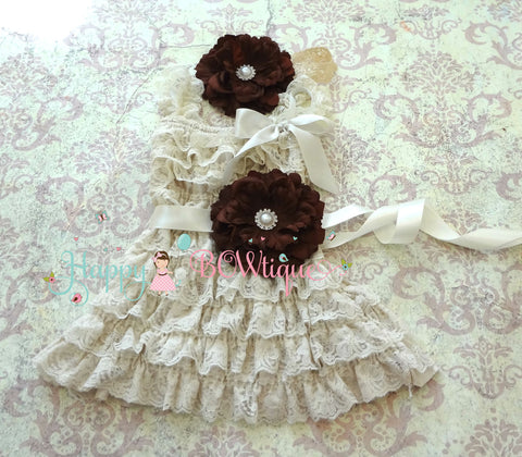 Rustic Champage Brown Flower Lace Dress set - Happy BOWtique - children's clothing, Baby Girl clothing