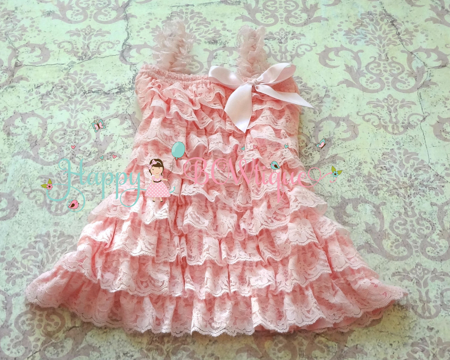 Baby Pink Lace Dress ~ Petti Lace Baby Girl Pink dress
