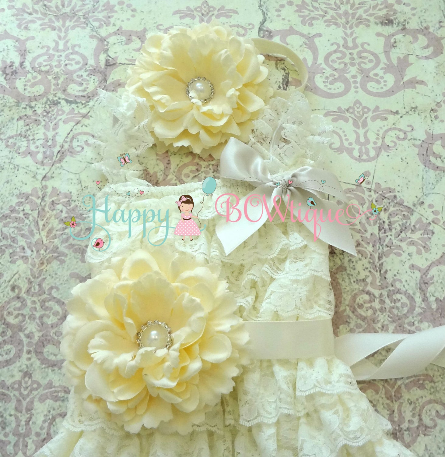 Ivory Flower girl dress/ Girl's Ivory Cream Flower Lace Dress set - Happy BOWtique - children's clothing, Baby Girl clothing
