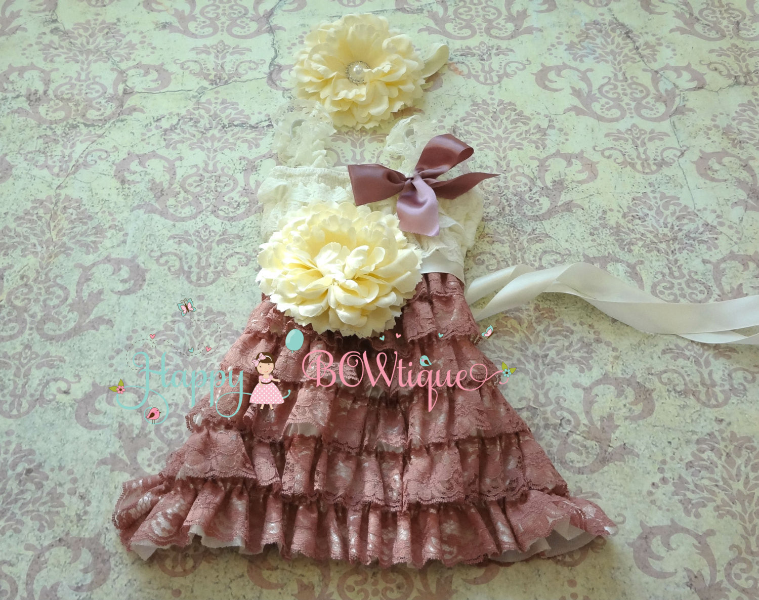 Dusty Ivory Rose Flower Lace romper set - Happy BOWtique - children's clothing, Baby Girl clothing