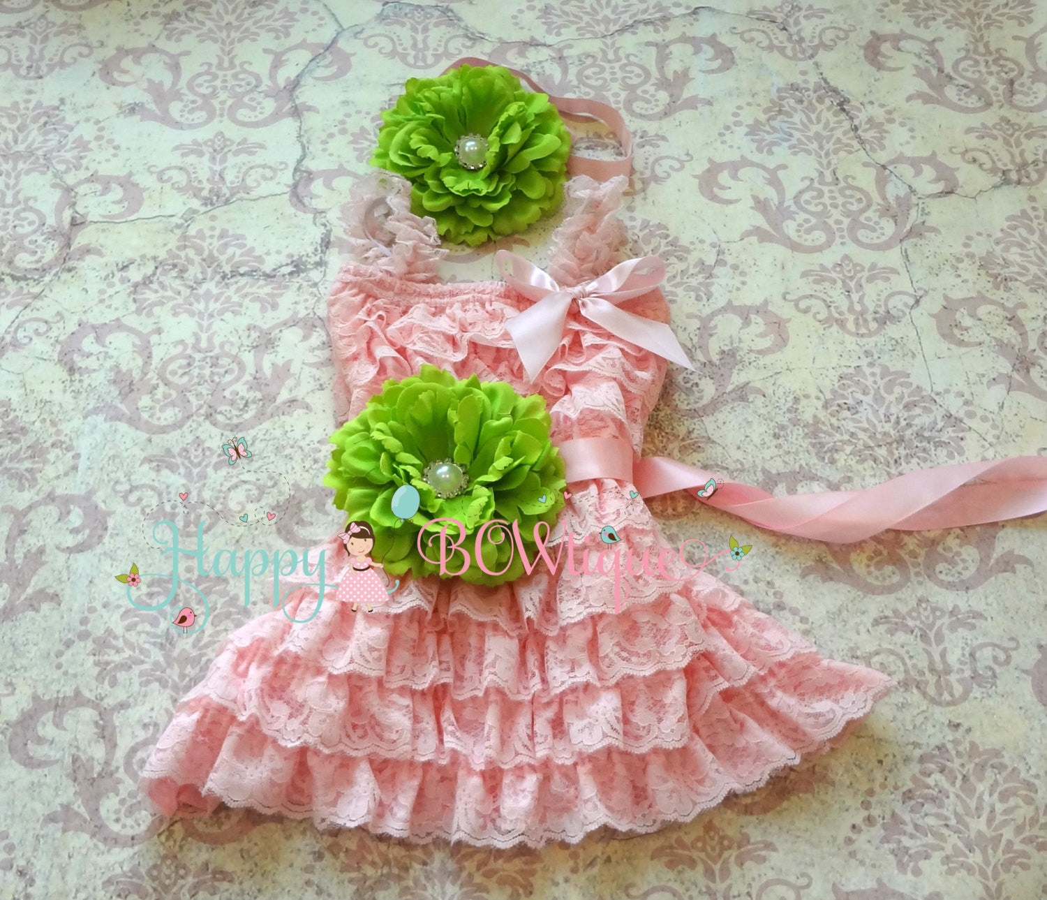 Ivory Pink Flower Girl's Dress set/ Petti Lace Dress Set - Happy BOWtique - children's clothing, Baby Girl clothing