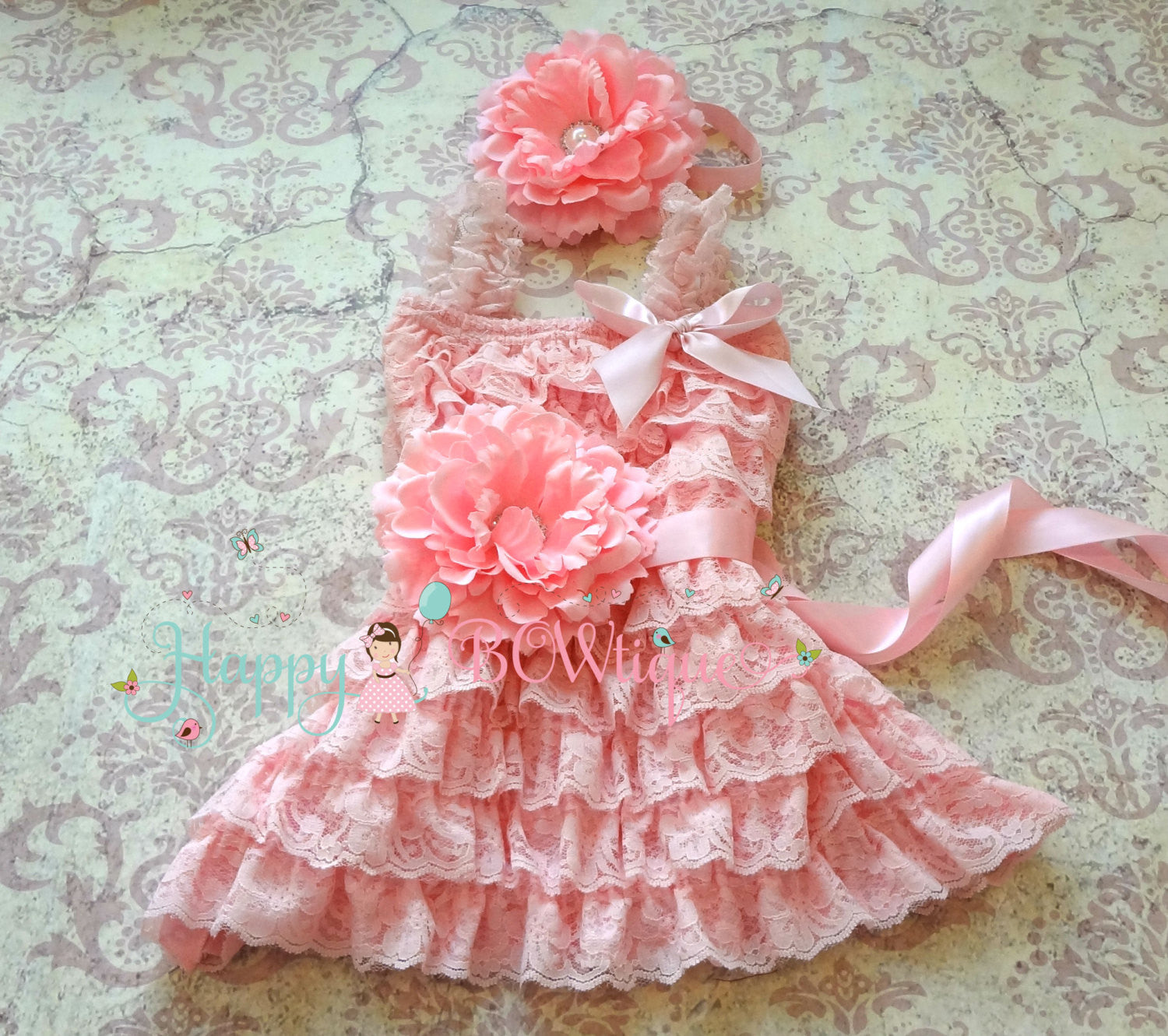 Fuchsia Pink Flower Girl's Dress set/ Girl's Pink Lace Dress - Happy BOWtique - children's clothing, Baby Girl clothing