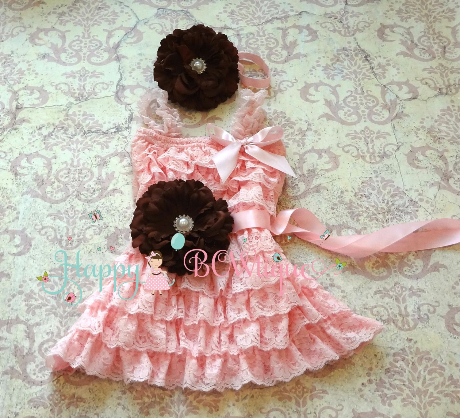 Girl's Pink Petti Lace Dress/ Pretty Baby Girl's Pink Flower Dress set - Happy BOWtique - children's clothing, Baby Girl clothing