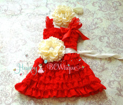 Baby Girl Red Dress / Girl Ivory Red Flower Lace Dress set - Happy BOWtique - children's clothing, Baby Girl clothing