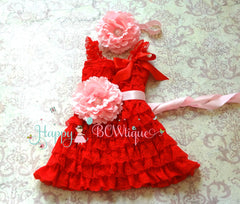 Red Flower Lace Petite Dress set - Happy BOWtique - children's clothing, Baby Girl clothing