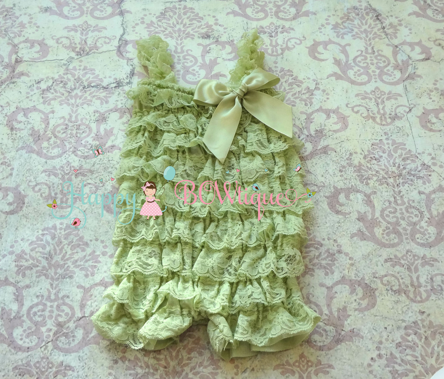 Baby Mint Pink Flower Lace romper set - Happy BOWtique - children's clothing, Baby Girl clothing