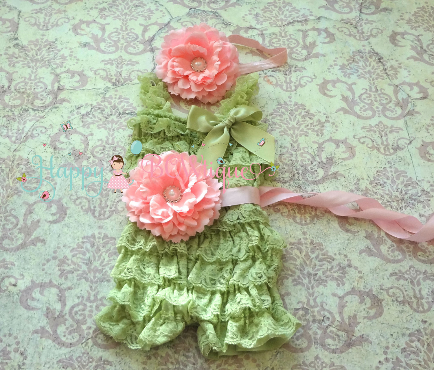 Mint Green Lace Petti Romper - Happy BOWtique - children's clothing, Baby Girl clothing