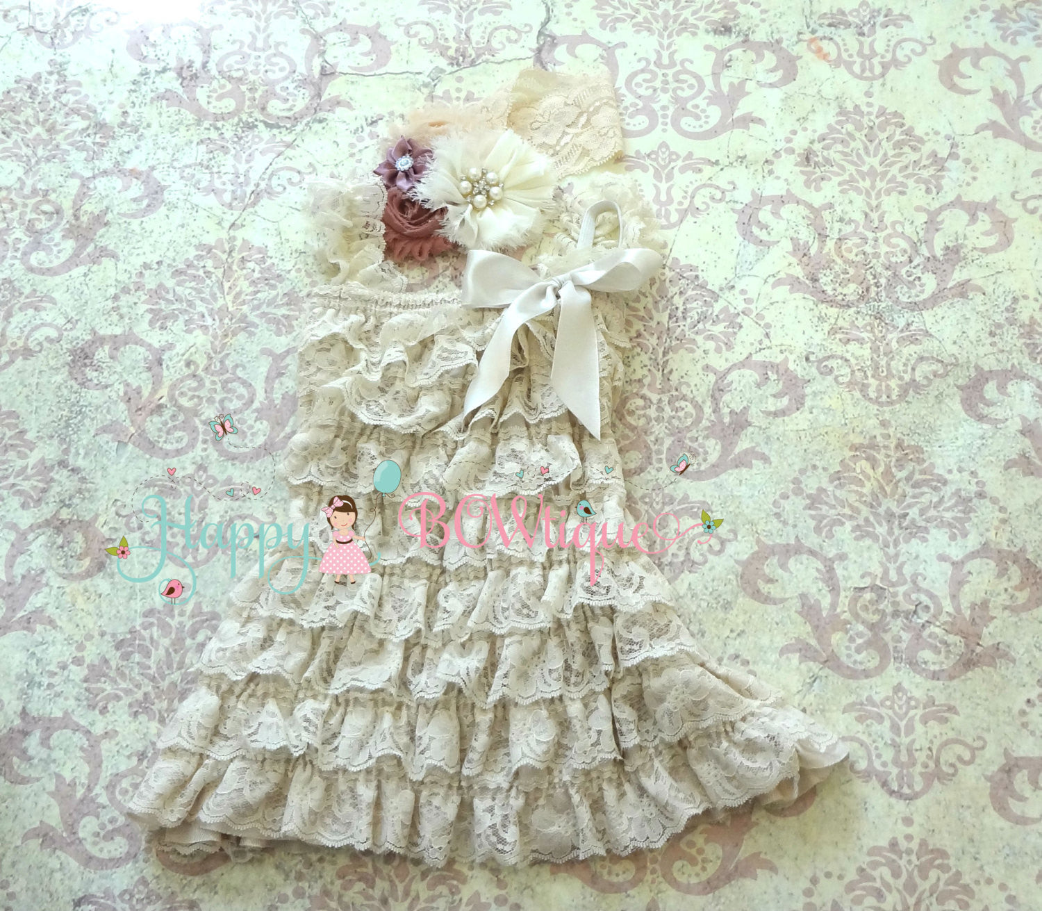 Champagne Vintage Rose Lace Dress set - Happy BOWtique - children's clothing, Baby Girl clothing