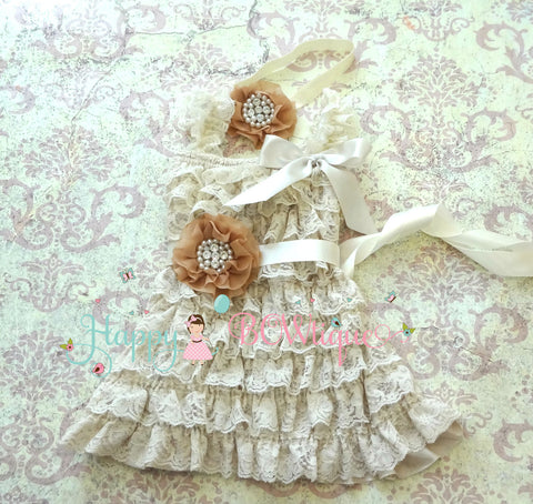 Rustic Flower Girls Dress/ Girl's Champagne Rhinestone Dress set - Happy BOWtique - children's clothing, Baby Girl clothing