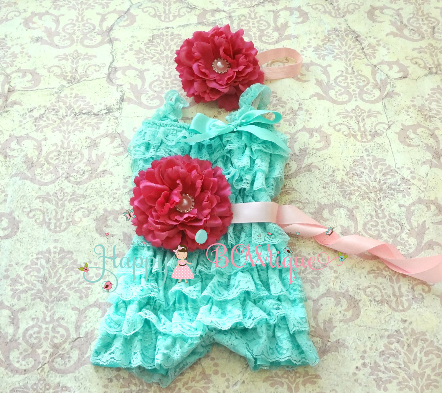 Aqua Fuchsia Flower Lace romper set - Happy BOWtique - children's clothing, Baby Girl clothing