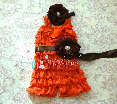 Fall Orange Chocolate Flower Romper set - Happy BOWtique - children's clothing, Baby Girl clothing