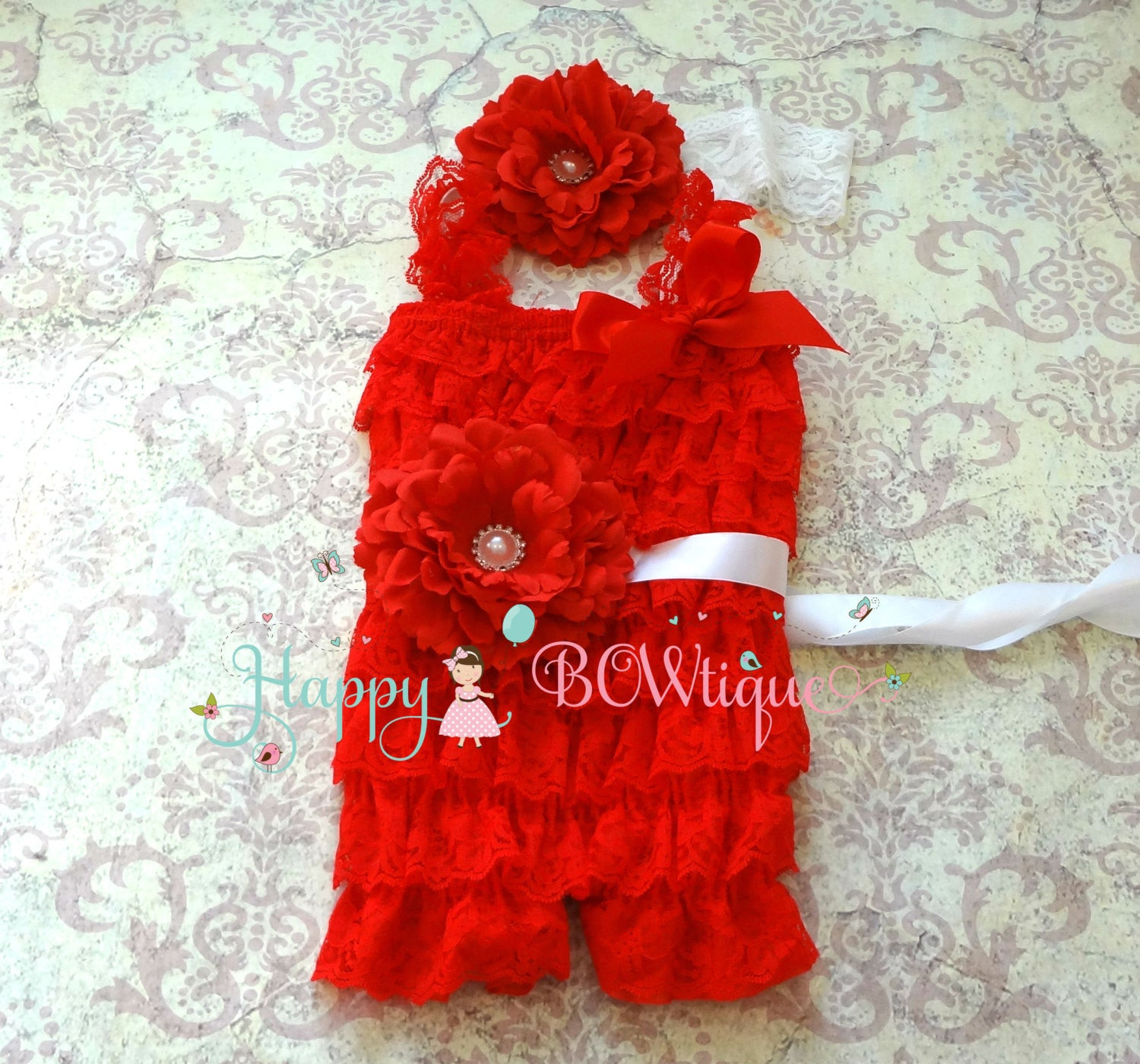 Baby Red & Pink Flower Lace Romper set - Happy BOWtique - children's clothing, Baby Girl clothing