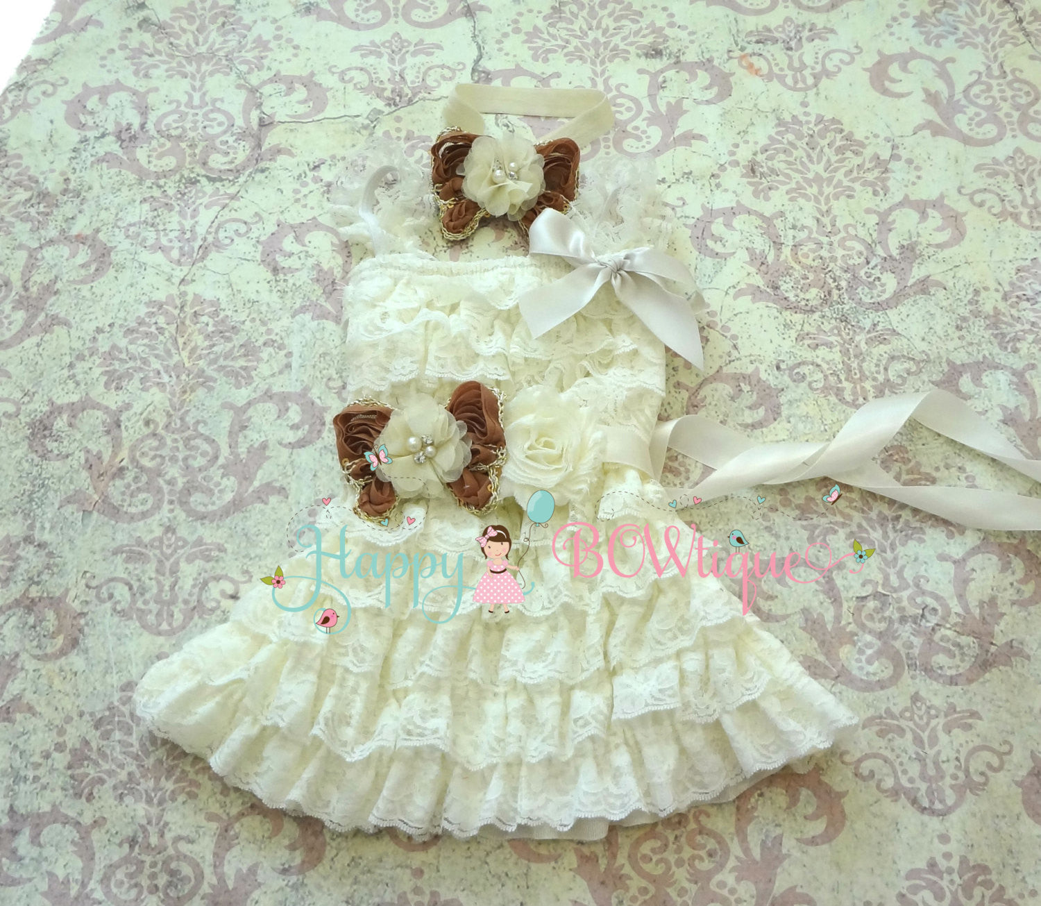 Girl Rustic Brown Dress / Girl Chocolate Tan Butterfly Lace Dress set - Happy BOWtique - children's clothing, Baby Girl clothing
